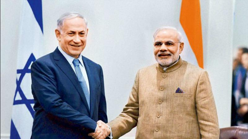 PM Narendra Modi with Israeli PM Benjamin Netanyahu. (Photo: File)
