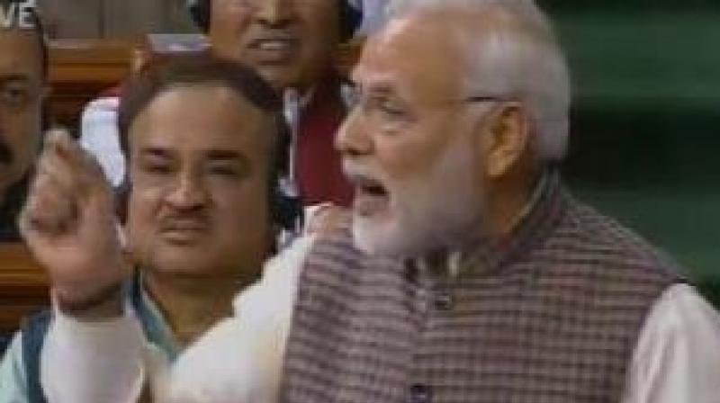 Prime Minister Narendra Modi delivers Motion of Thanks speech in Lok Sabha. (Photo: ANI | Twitter)