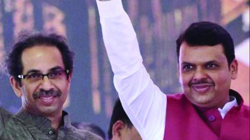 Shiv Sena chief Uddhav Thackeray and chief minister Devendra Fadnavis.