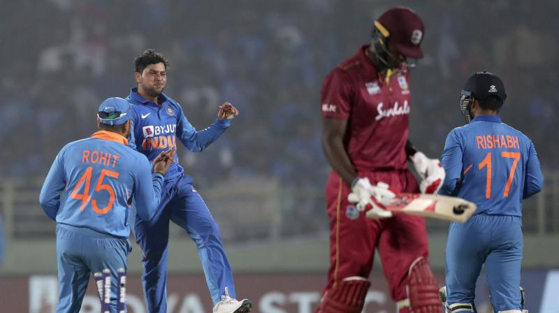 Kuldeep Yadav has rated his hat-trick against the West Indies as his best bowling performance, the Indian record coming in the backdrop of relentless pressure and a dip in form leading to exclusion from the team. (Photo:AP)