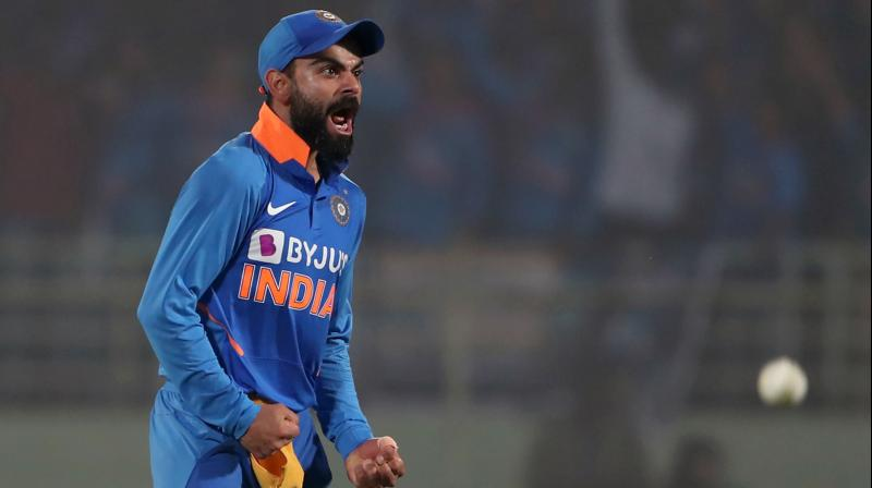 India skipper Virat Kohli has been a bit more charged up than he usually is during the ongoing West Indies series and rival captain Kieron Pollard is 'clueless' as to what's been the trigger. (Photo:AFP)