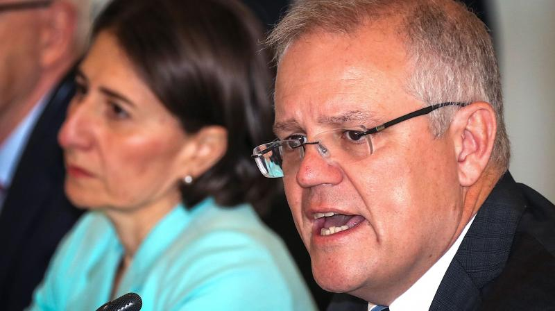 Australian Prime Minister Scott Morrison speaks during the Meeting of the Council of Australian Governments (COAG) at Parramatta Stadium in western Sydney. AFP Photo
