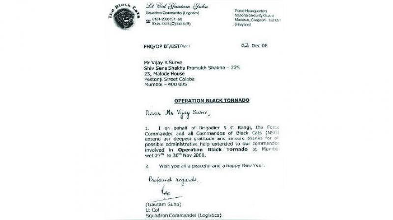 The letter written by NSG praising Shiv Sena for its help  during the 26/11 terror attacks