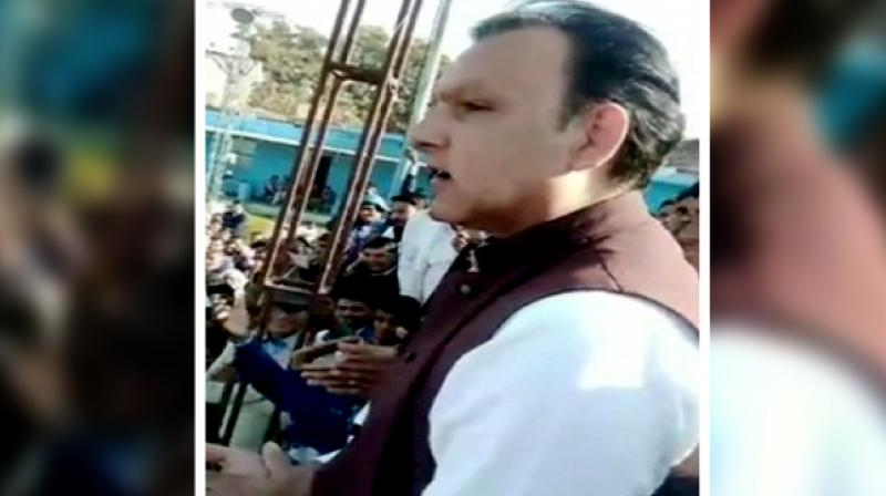 'If there is fire, I will take the first bullet on my chest. Be it Narendra Modi, Vasundhara Raje or Ashok Gehlot,' BSP leader Jagat Singh was also heard saying. (Photo: ANI)