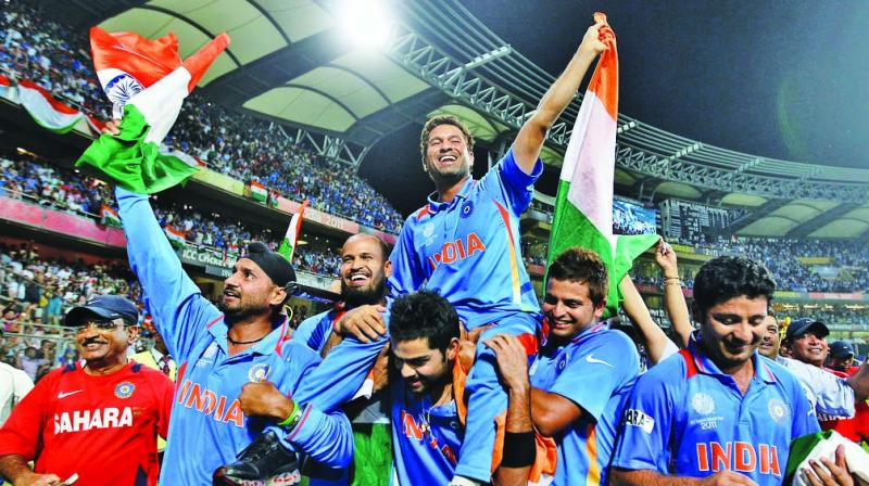 Virat Kohli carries Sachin Tendulkar as Team India celebrate their 2011 World Cup triumph.