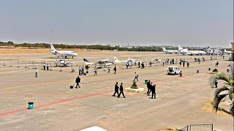 Aircraft parked at the Begumpet airport in Hyderabad during Wings India on Thursday. The biennial event has attracted only 12 smaller aircraft with a seating capacity of two and 19. None of the major commercial aircraft are showcased. (Photo: Surender Reddy)