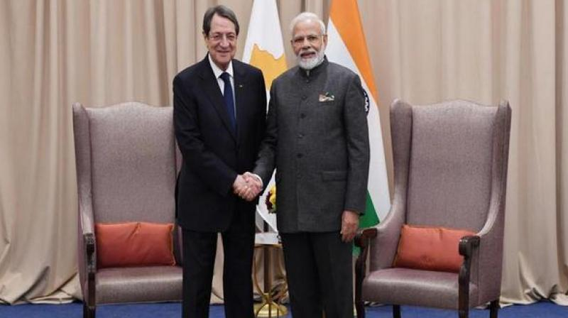 Both Modi and Anastasiades discussed the broad spectrum of bilateral relations, pursuant to the State visit of the President of India to Cyprus in September 2018. (Photo: ANI)