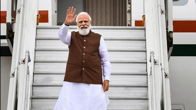 Prime Minister Narendra Modi departs from New Delhi for his visit to the USA, where he will take part in a wide range of programmes, hold talks with world leaders including POTUS. (PTI Photo)