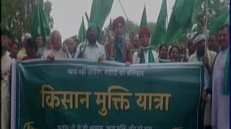 The march was scheduled to start from Mandsaur on July 6 and culminate at New Delhi on July 18 after passing through Madhya Pradesh, Maharashtra, Gujarat, Rajasthan and Uttar Pradesh. (Photo: ANI/Twitter)