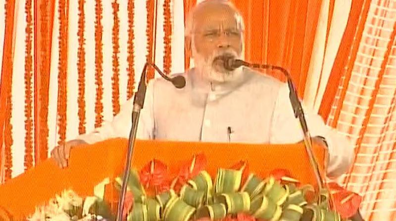 Prime Minister Narendra Modi speaks after inaugurating the tunnel at Udhampur, Kashmir. (Photo: Twitter | ANI)