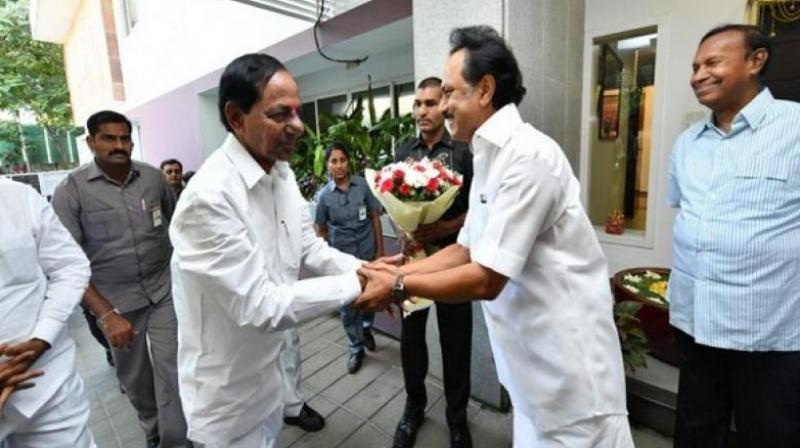 TRS chief chief K. Chandrasekhar Rao and DMK president M.K. Stalin (Photo: ANI)