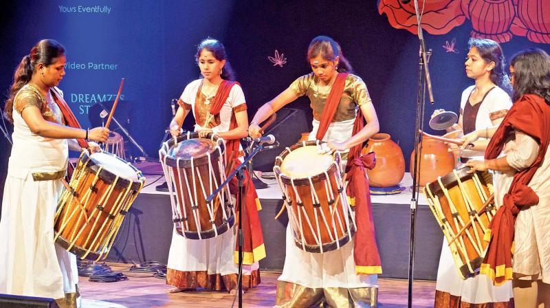 The Krishnadas Sisters with their chenda ensemble.