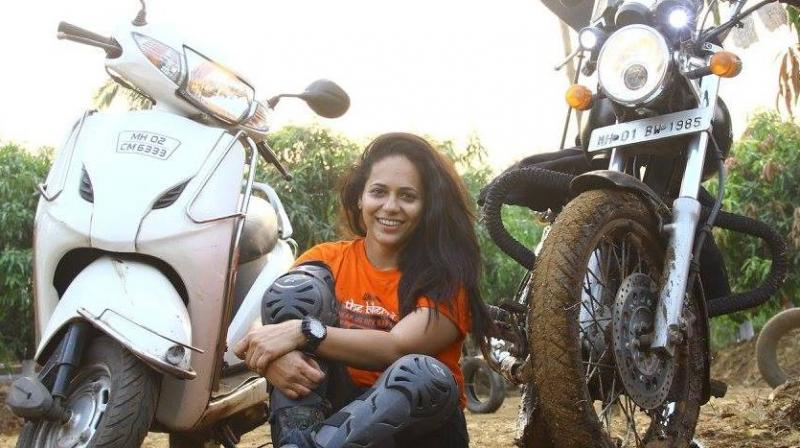 Jagruti Hogale, a member of the all-women 'Bikerni' motorcycle club, was on a trip with two other bikers to Jawhar in Palghar district on Sunday when the incident occurred. (Photo: Facebook/Jagruti Viraj Hogale)
