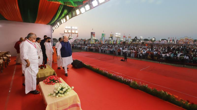 Amit Shah addressing Vijay Sankalp Rally In Villupuram in Tamil Nadu on Sunday. (Image credit : Twitter/@AmitShah)