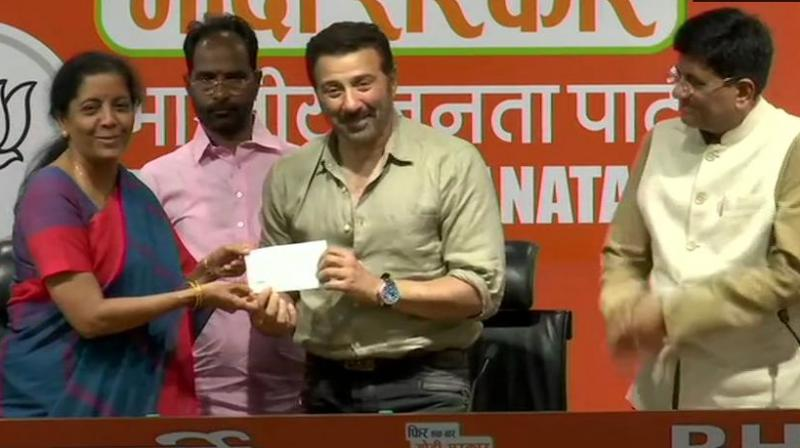 Deol joined in the presence of Union Ministers Piyush Goyal and Nirmala Sitharaman. (Photo: ANI | Twitter)