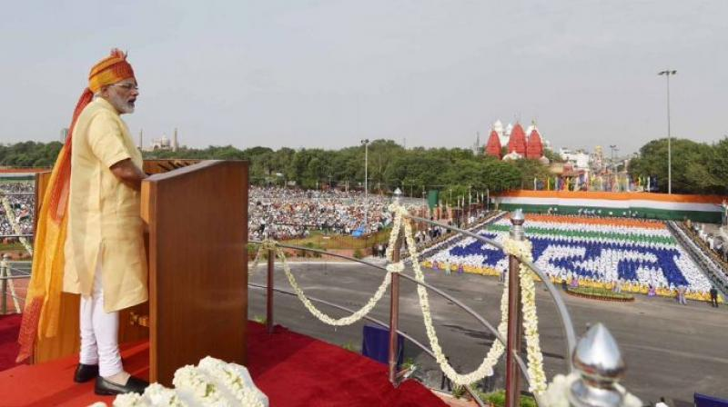 Prime Minister Narendra Modi addressed the nation from Red Fort. He remembered the contributions of martyrs who laid down their lives for the country. (Photo: PIB)