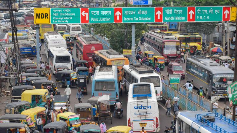 Big traffic jam on a street during Unlock 2.0, in Patna. PTI photo