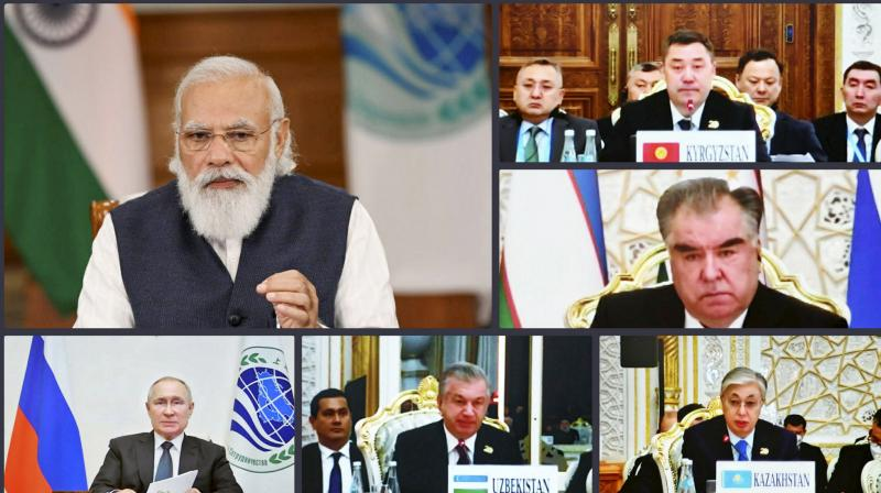 rime Minister Narendra Modi addresses the Plenary Session of the 21st Meeting of SCO Council of Heads of State, through video conferencing, in New Delhi, Friday, September 17, 2021. (PTI)