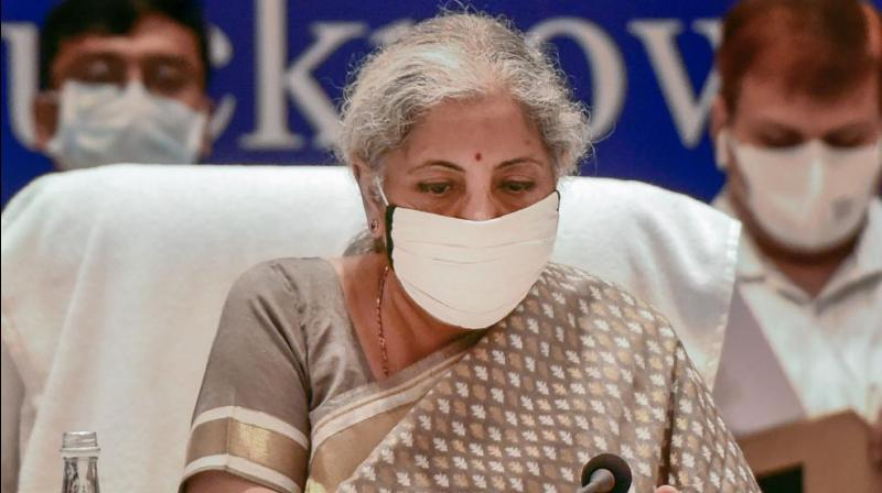 Finance Minister Nirmala Sitharaman chairs the 45th GST Council meeting in Lucknow, Friday, Sept. 17, 2021. (PTI Photo)