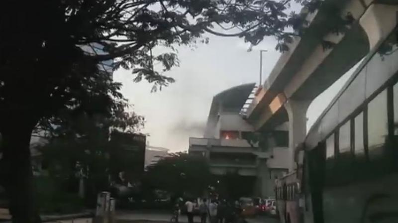 A purported footage of the flames at the station went viral on social media. (Photo: ANI | Twitter)