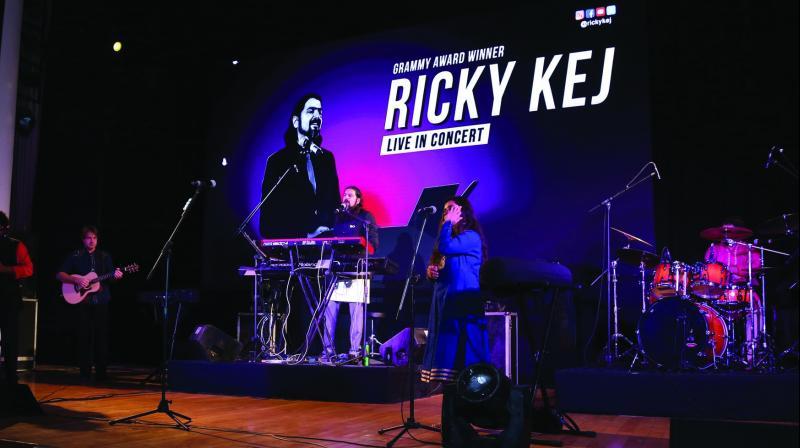 Ricky Kej and his band perform in Delhi. (Photo: Shailaja Khanna)