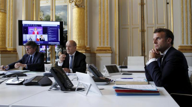 French president Emmanuel Macron attending the video conference on Monday. (AP)