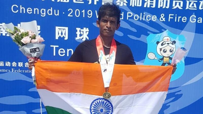 N Bose Kiran, Additional Inspector of Police in Cyberabad Police Commissionerate, has won two Bronze medals at 'World Police and Fire Games' held at Chengdu in China. (Photo: Twitter/cyberabadpolice)