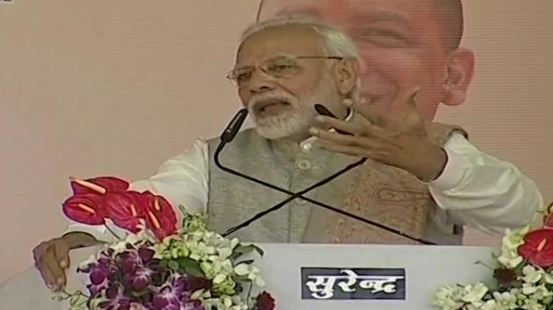 In his public meetings in Agra, Prime Minister Narendra Modi accused Congress leaders of insulting the country's women. (Photo: Twitter | ANI)