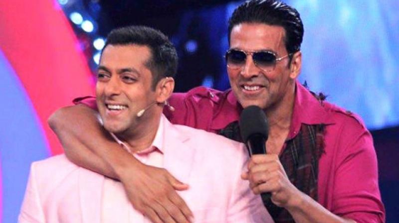 Salman Khan and Akshay Kumar on a TV show. (file photo)