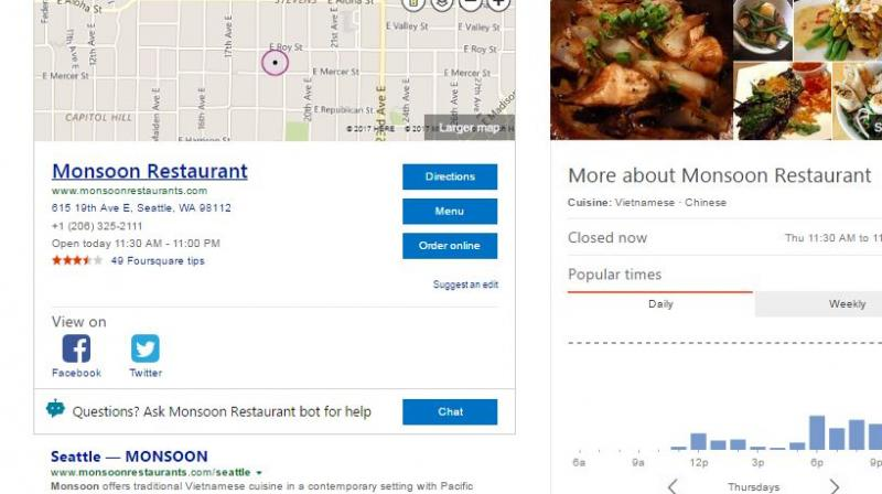 """Users searching the web for businesses like restaurants, shopping and more can click the option of """"Chat"""" to connect to an available bot."""