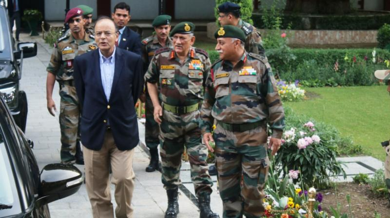 Defence Minister Arun Jaitley, is received by Army Chief General Bipin Rawat and other senior officers at the headquarters of 15 Army Corps also known as Chinar Corps at Srinagar's Badami Bagh Cantonment.