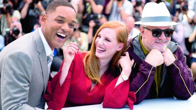 Jury members Will Smith (from left), Jessica Chastain and Pedro Almodovar pose for  photographers at the 70th Cannes International Film Festival in southern France. (Photo: AFP)