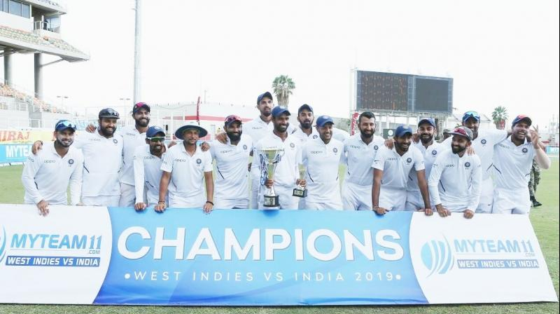 This win is the eighth consecutive series victory for India over Windies. (Photo: Virat KOhli/Twitter)