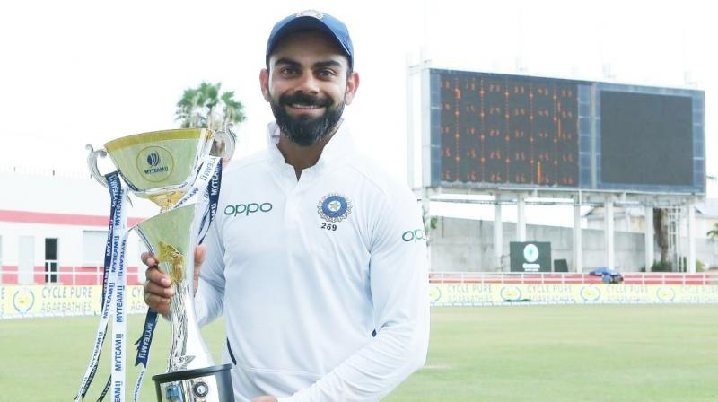 30-year-old Virat Kohli now has 28 wins from 48 matches as Test skipper. Mahendra Singh Dhoni had scripted 27 Test wins from 60 matches. (Photo: ViratKohli/twitter)