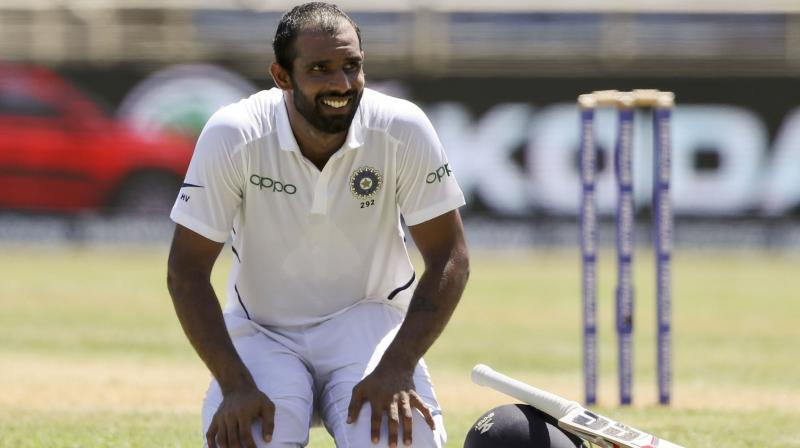 India captain Virat Kohli singled out Hanuma Vihari for special praise for his work ethic and temperament, saying the young middle-order batsman's self belief while batting spreads a sense of calm in the dressing room. (Photo:AP)