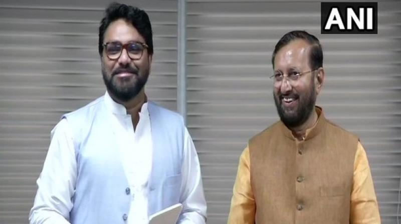'I am looking forward to working with him (Javadekar). I thank the Prime Minister for giving an opportunity to me,' singer turned politician Babul Supriyo said. (Photo: ANI)