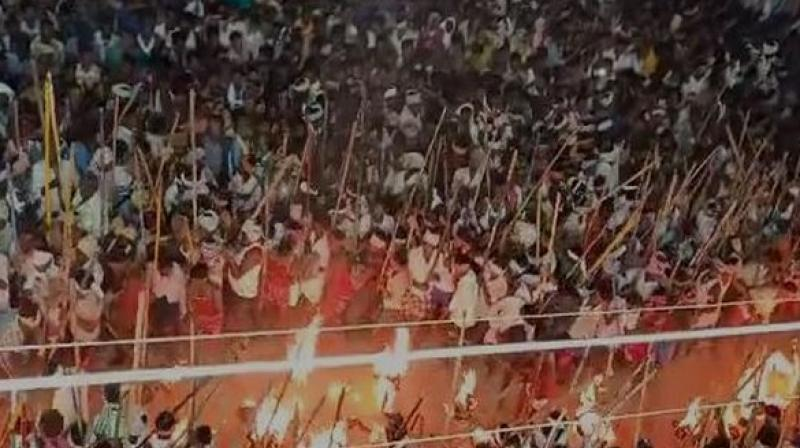 Dussehra festival in Devaragatta village of Kurnool district is celebrated in a unique way every year. (Photo: ANI)