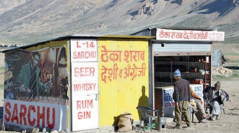 An alcohol shop in Leh