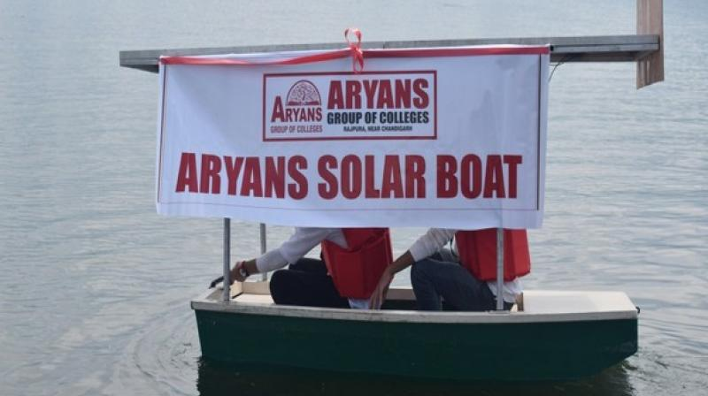 The boat's battery gets charged by the solar light. (Photo: ANI)