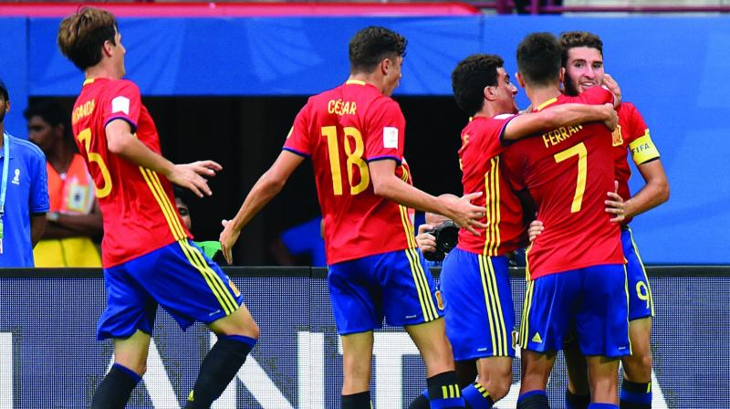 Spain's Abel Ruiz (right), with six goals, is currently the second highest scorer in the Fifa Under-17 World Cup behind England striker Rhian Brewster, whose tally is seven. (Photo: AFP)