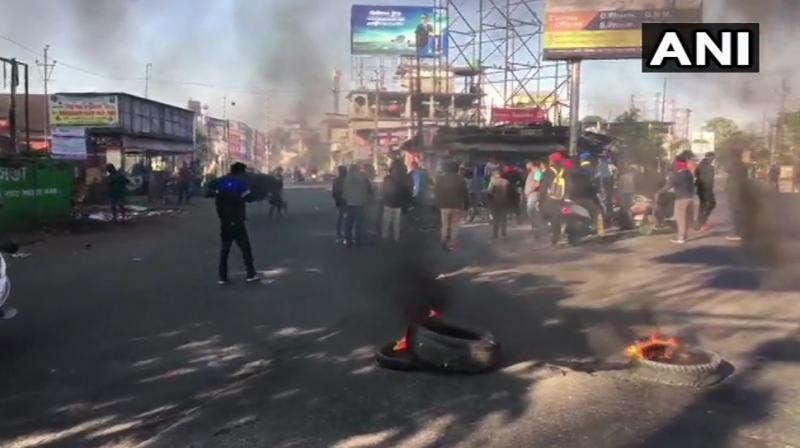 Security was beefed up in Assam, Arunachal Pradesh, Meghalaya, Mizoram and Tripura. Nagaland has been exempted from the purview of the bandh in view of the ongoing Hornbill Festival there. (Photo: ANI)