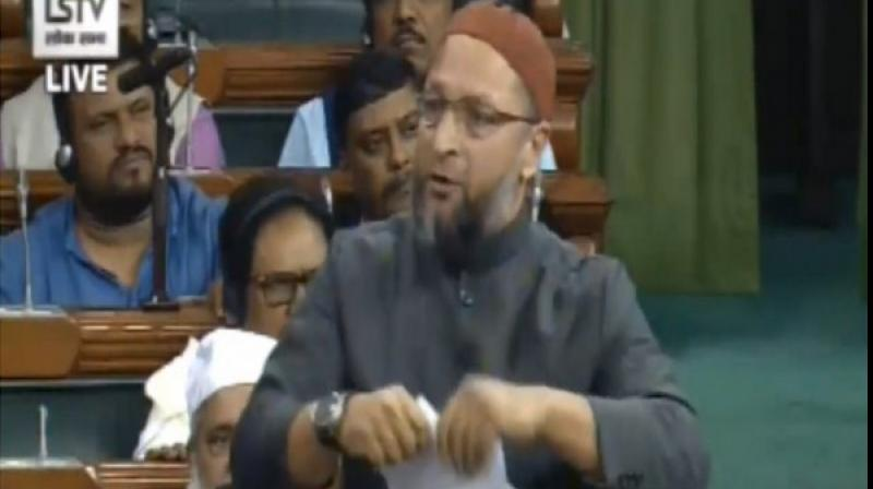 Owaisi said the Bill was not only the part of a conspiracy to make Indian Muslims stateless but would also lead to pose a risk to the national security. (Photo: ANI)