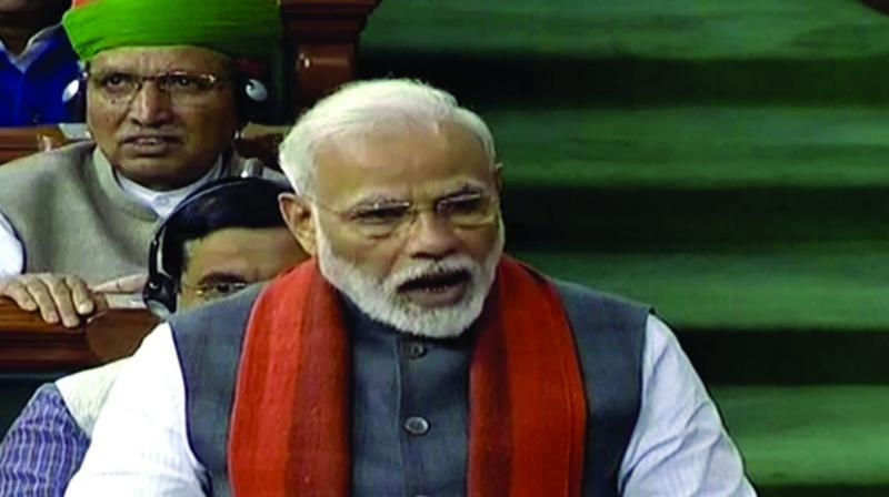 Prime Minister Narendra Modi speaks in Lok Sabha in New Delhi on Wednesday. (Photo: ANI)
