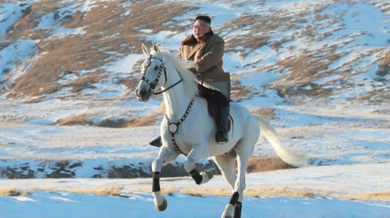 In the photos released by state news agency KCNA, Kim is seen riding alone on a large white horse through snowy fields and woods on Mt Paektu, the spiritual homeland of the Kim dynasty. (Photo: AFP)