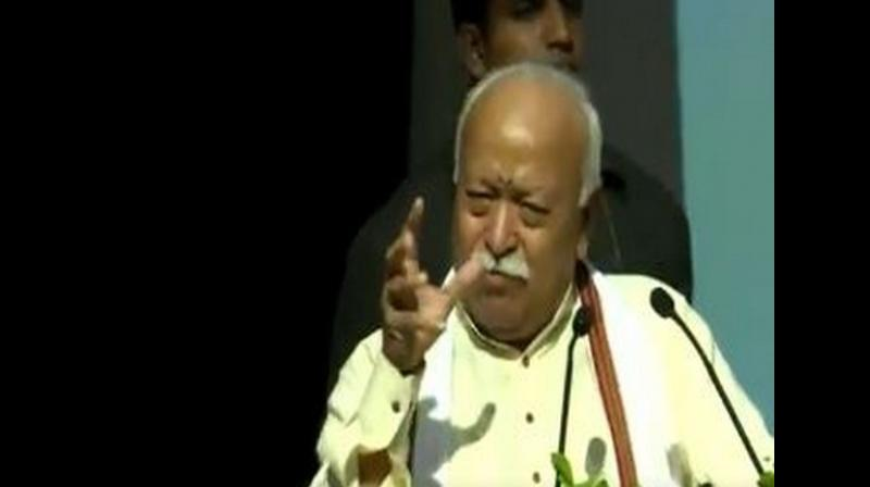 'Whenever a country in the world was confused and diverted from the right path, it came to India in search of the truth. When the Jews were being chased away, India is the only country that gave them shelter. The Parsis are also able to safely practise their religion here,' Mohan Bhagwat said (Photo: ANI)