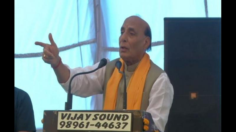 'I would like to make a suggestion to Pakistan Prime Minister Imran Khan. If you are serious enough to fight against terror, we are ready to assist you. If you want our Army, then we will send them there for your help,' Rajnath said. (Photo: ANI)