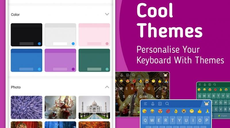 It also supports using personalized themes on the keyboard sourced through images from the phones' gallery