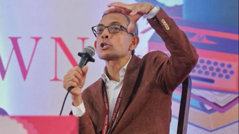 Economics Nobel winner Abhijit Banerjee speaks at Jaipur Listerature Festival on Sunday. (Photo: PTI)