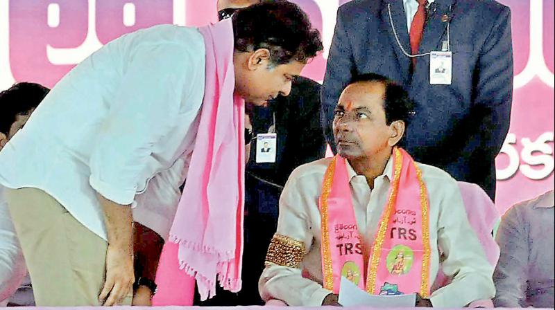 Telangana Rashtra Samiti president and Chief Minister K. Chandrasekhar Rao (right) along with his son K.T. Rama Rao during one of the election rallies. The TRS party was formed with the sole aim carving out a separate Telangana state. Now, Mr Chandrasekhar Rao has set his eyes on national politics.