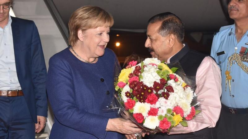 Merkel was received at the airport by MoS Prime Minister's Office Jitendra Singh. She will be meeting with the Indian leadership, besides a business delegation during her visit. (Photo:  MEA | Twitter)